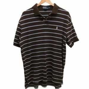Polo By Ralph Lauren Brown Striped Polo Shirt L